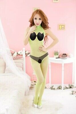 sexy Neon Green crotchless  Boobless Fishnet Bodystocking
