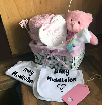 Baby gift basket hamper with a personalised bodysuit bib girl boy baby shower