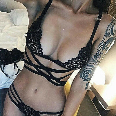 Sexy Women Fashion Hollow Out Bandage Lace Sexy Underwear Suit Nightwear Black""