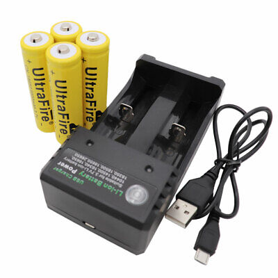 4 x Li-ion 18650 9800mAh Battery 3.7V Rechargeable & 2 Solts Smart USB Charger