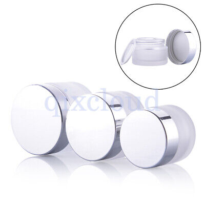 15g 30g 50g Silver Frosted Clear Glass Empty Jars Cosmetic Pot Creme Containers