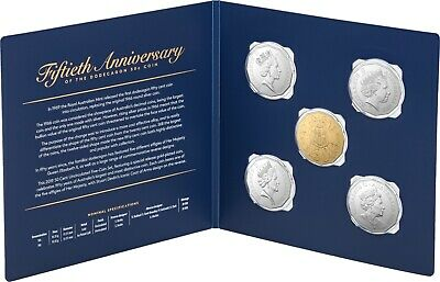 Australia 2019 50c 5 Effigies 50th anniversary UNC Coin Set includes gold plated