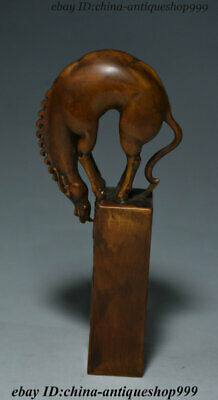 Antique Chinese Natural Boxwood Wood Carved Animal Horse Beast Seal Stamp Signet
