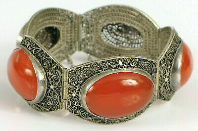 Antique Chinese Sterling Silver Fine Filigree Large Carnelian Stone Bracelet