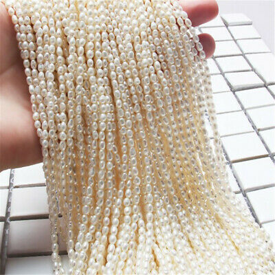2.8-3.2mm White rice shape natural freshwater pearl party elegant AAAA classic
