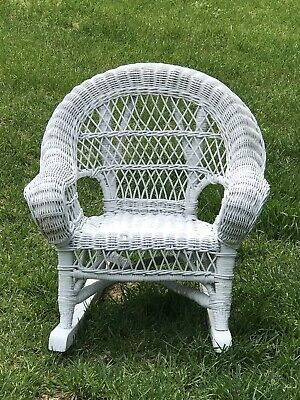Vintage Child's White Wicker Rocking Chair