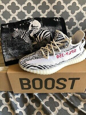 82cc28120ac04 2017 Adidas Yeezy Boost 350 V2 Zebra White Black Red CP9654 Mens Size 9 5