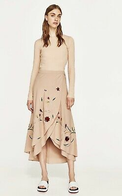 fd1aa61e ZARA NUDE PINK FLORAL EMBROIDERED SARONG FLOWING WRAP SKIRT S Midi Pink