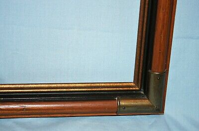 Vintage Stained Wood & Brass Corners Picture Art Mirror Frame