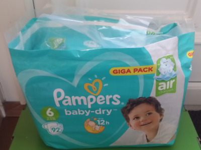 Pampers Baby Dry Giga Pack Size 6 Giga Pack 92 Nappies Air Channels