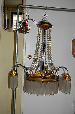 Antique Gorgeous Art Nouveau Brass Chandelier Glass Tubes Circa 19Th Century