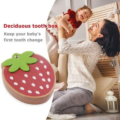 Strawberry Box Souvenir Tooth Collection Wooden Baby Kids Deciduous Tooth Box