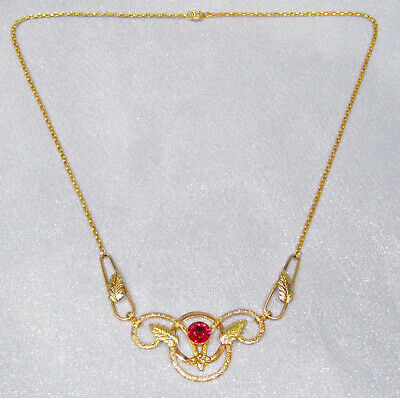 Antique Art Deco 12K Multi-Color Gold Filled Faceted Red Glass Necklace DS-29