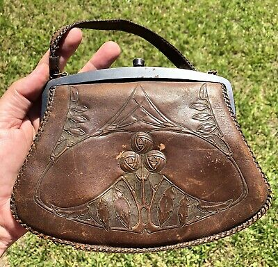 Vintage 1920's Leather Purse Arts & Crafts Style Hand Tooled Free Shipping