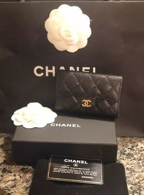 Authentic Chanel Card Case Holder Wallet Black Caviar Gold Hardware