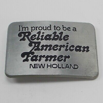 1982 Im Proud To Be A Reliable American Farmer New Holland Metal Belt Buckle