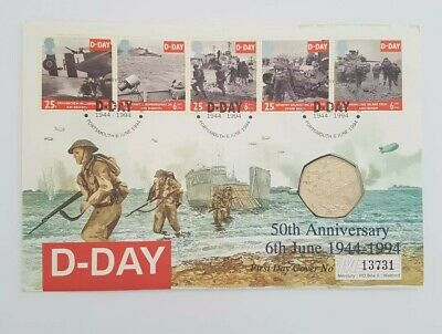 1994 50th Anniversary of D-Day Landings Fifty Pence 50p Coin and Stamp Cover UK