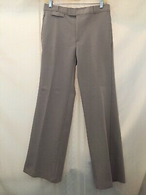 "Vintage 1970s Tan Polester Angel Flight Bell Bottom Pants  30"" Waist"