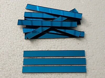 10 pieces, Turquoise Glass Mirror Tiles, Size 10 x 1 cm, 1.6 mm Thick, Art&Craft