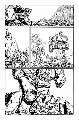 £5 OFF! TRANSFORMERS RG1 #84, p15 original art, WILDMAN & BASKERVILLE. MEGATRON!
