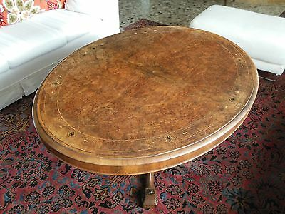 Tavolo Ovale A Vela Epoca Vittoriana '800, Old Victorian Burr Walnut Tilt Table