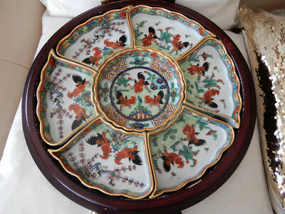 20C FAMILLE ROSE CHINESE PORCELAIN ROSEWOOD HAND PAINTED Sweet Meat Dish BOWL