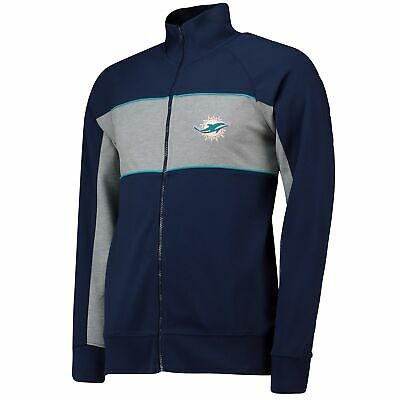 NFL Miami Dolphins Cut And Sew Track Jacket Coat Top Navy Mens Fanatics Branded.