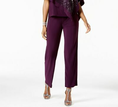$199 R&M Richards Women'S Purple Pull-On Straight-Leg Formal Dress Pants Size 8