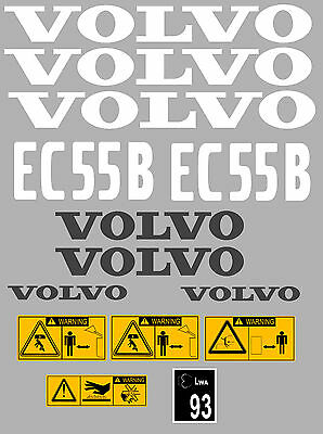 Volvo Ec55B Digger Complete Decal Sticker Set With Safety Warning Decals
