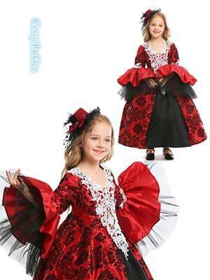 Deluxe Girls Vintage Victorian Masquerade Ball Gown Outfit