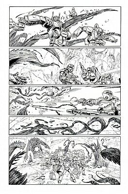 £5 OFF! TRANSFORMERS RG1 #100, p5 original art-WILDMAN & BASKERVILLE- THE FINALE