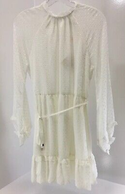 Selfie Leslie Womens Maiden Long Sleeve Frill White Dress Size Medium NWT +