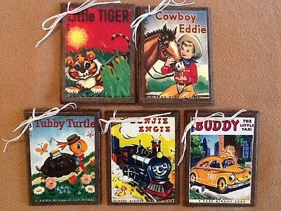 5 Handcrafted Wooden Vintage Children's Book Cover Ornaments/Hang Tags/Gift Tags