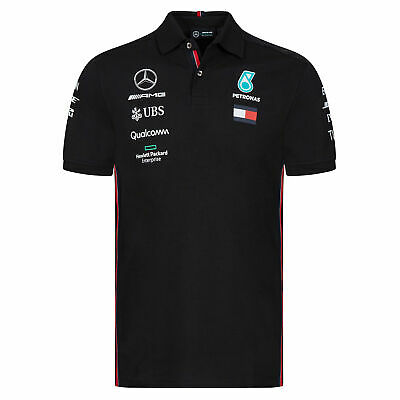 F1 Mercedes AMG Petronas 2019 Team Polo Shirt Tee Top Black Mens Fanatics