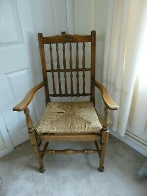 Used Vintage Antique Solid Wood And Straw Chair Rustic Style