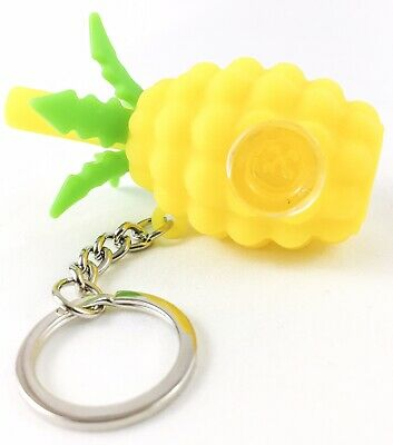 Durable Pineapple Silicone Tobacco Herb Smoking Pipe Glass Bowl & Keychain NEW