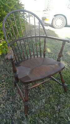 Antique Windsor Style Bowback Armchair with Patina Rush Seat Pegged Knuckle Arms