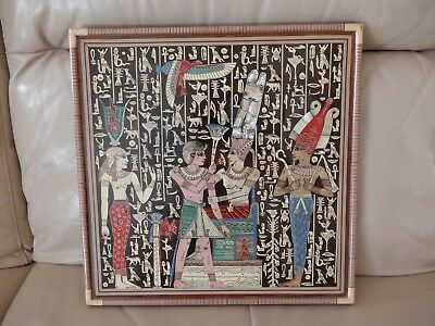 PHARAOHS Handcrafted EGYPTIAN MOTHER OF PEARL INLAY Lacquered Wood Wall Hanging