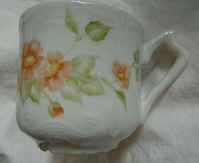 Antique Victorian Ornate Embossed Mustache Apricot Flower Cup Mug Scalloped Foot
