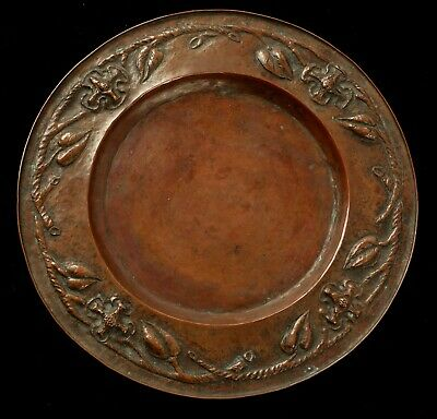 Beautiful Antique Hand Hammered Copper Tray Plate Arts And Crafts Art Nouveau