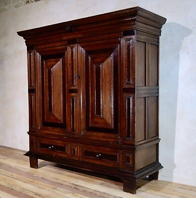 Antique 17th Century Dutch Cupboard Kast Kas Oak Rosewood Linen Drawer Armoire