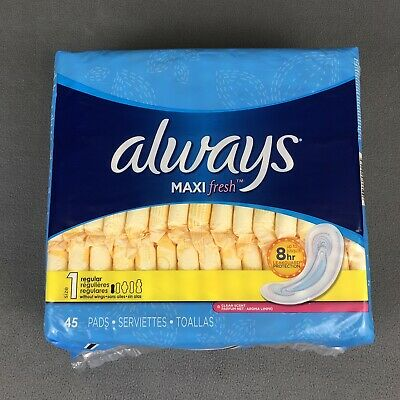 Always Maxi Pads Regular Absorbency Size 1 Without Wings 45 Count Clean Scent