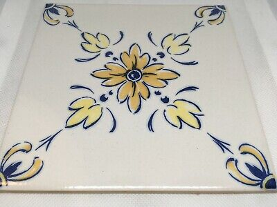 antique hand painted portuguese traditional Azulejo blue tile