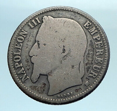 1868 FRANCE Emperor NAPOLEON III Geniune Old Silver 1 Franc French Coin i77711