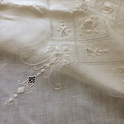 Antique? vtg tablecloth white linen reticella needle lace embroidery open pulled