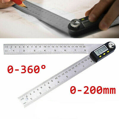 LCD Digital Angle Finder Plastic 0-200mm Ruler Gauge Measure Tool F4A7Z
