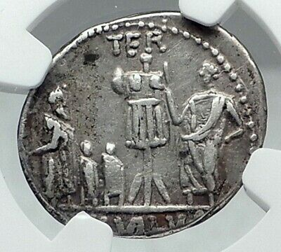 Roman Republic VICTORY vs Macedonia King Perseus Silver Ancient Coin NGC i77833