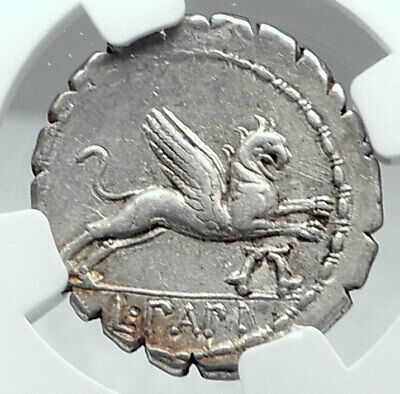 Roman Republic 79BC Ancient Rome Authentic Silver Coin JUNO GRIFFIN NGC i77835