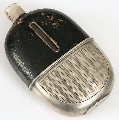 Rare Antique Cross London Sterling Silver Leather Wrapped Whiskey Booze Flask !