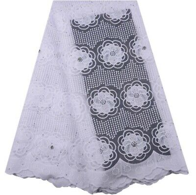 3 YaRds Nigerian French Tulle Lace African Lace Fabric For Party Dress(white)